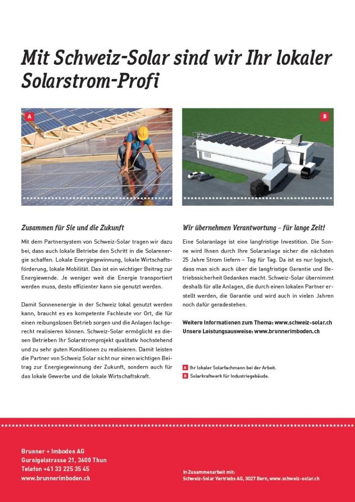 Die Berner Werbeagentur Blitz & Donner mit neuer Kommunikationssrategie für Schweiz-Solar