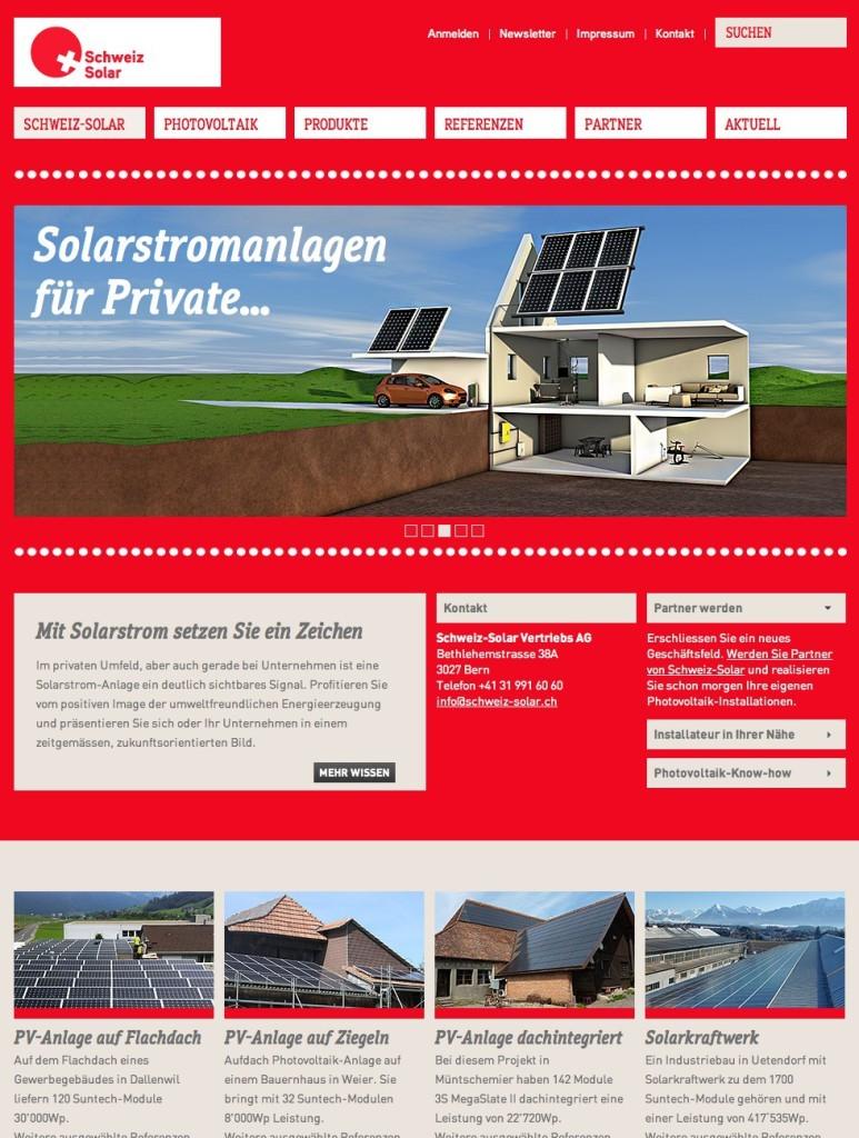 Die Berner Werbeagentur Blitz & Donner realisiert neue Website für Schweiz-Solar.ch
