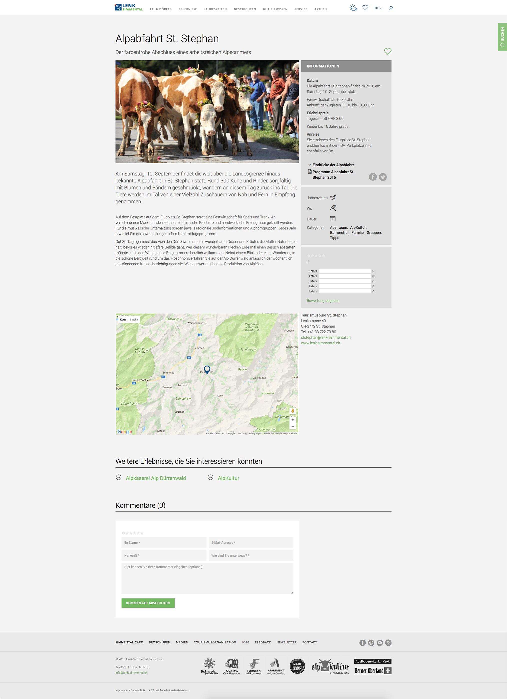 Lenk Simmental Tourismus Relaunch Webseite by Werbeagentur Bern - Blitz & Donner
