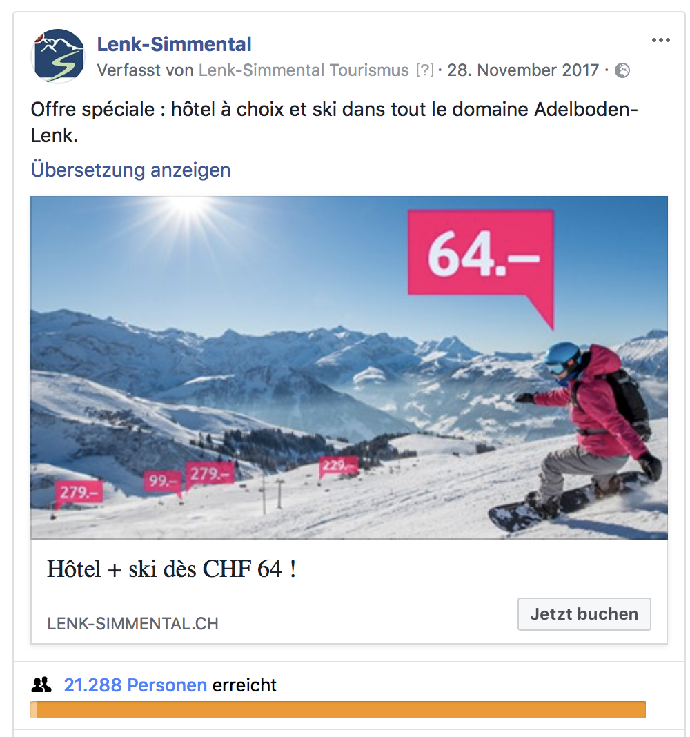 Beispiel: Facebook- Post mit Visual