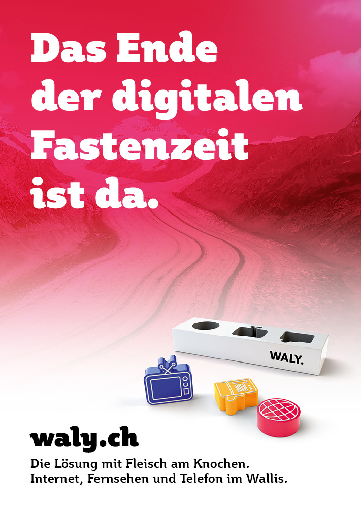 Fastenzeit: Plakat aus der Imagekampagne für waly.ch durch Werbeagentur Blitz & Donner, Bern