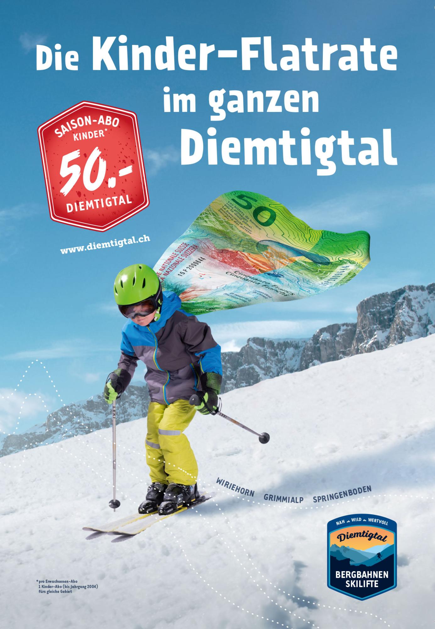 Plakatkampagne  für das kombinierte Angebot der Diemtigtaler Skigebiete.